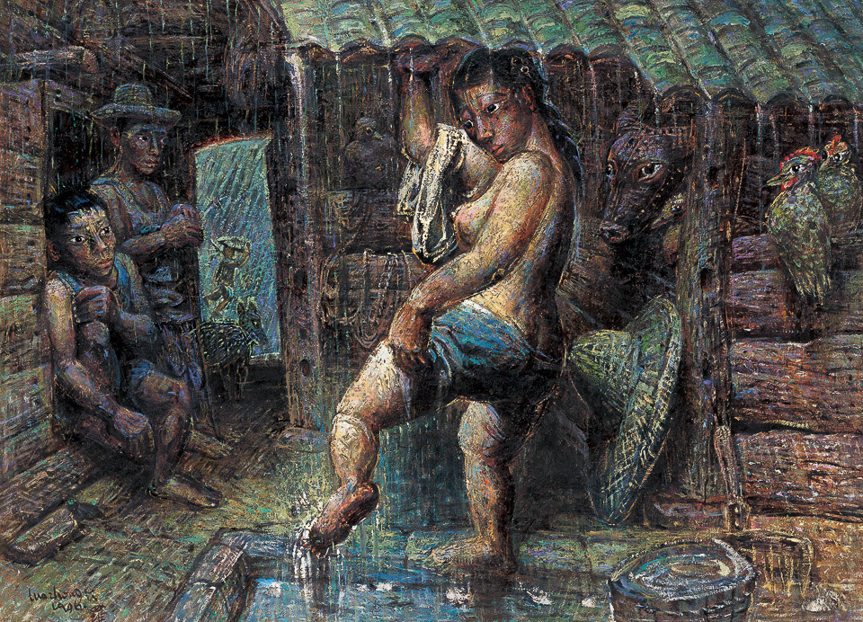 洗脚的农妇