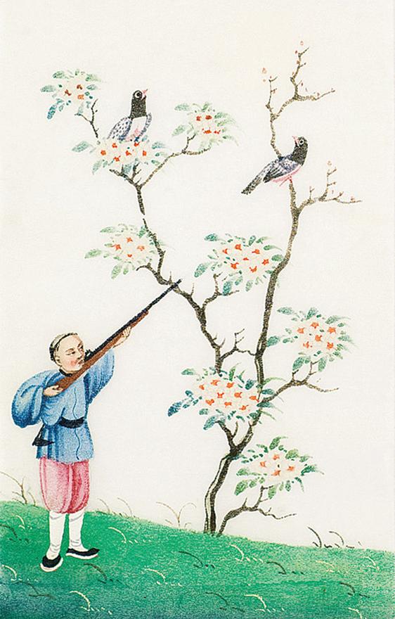 清代猎鸟图 (十四幅)