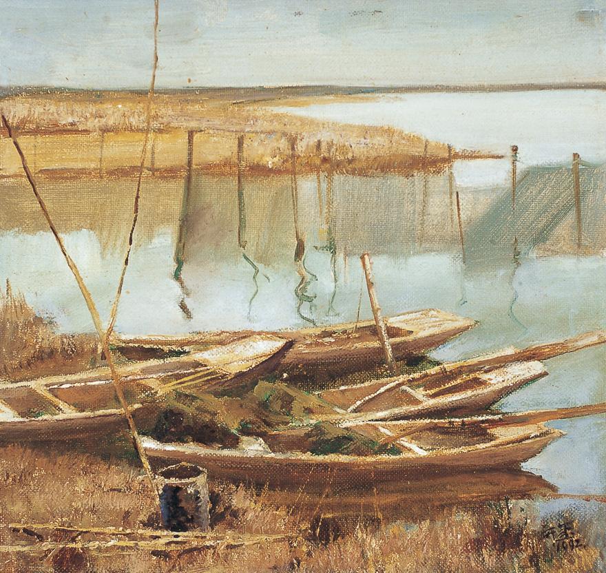 湖边渔船(两幅)