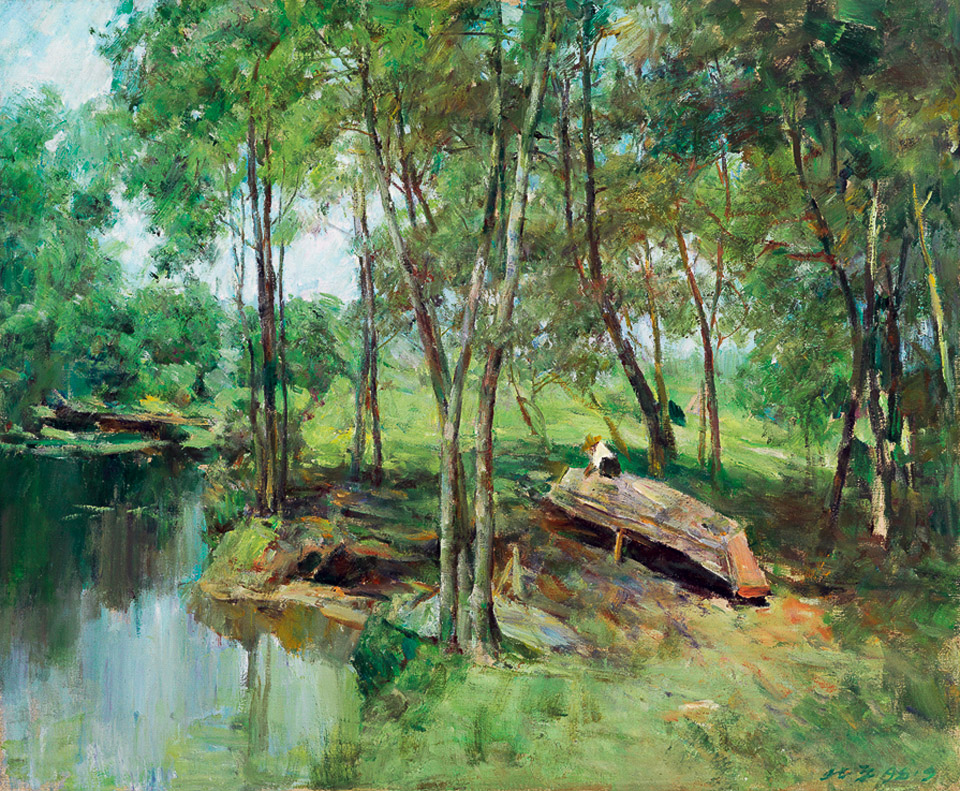 湖畔修木船