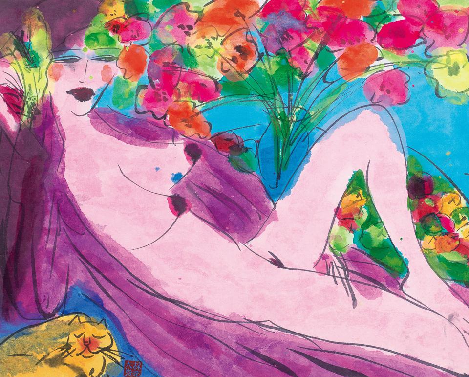 裸女与瓶花