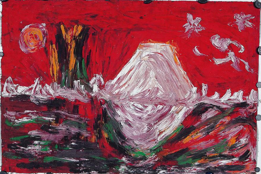 红色背景的富士山