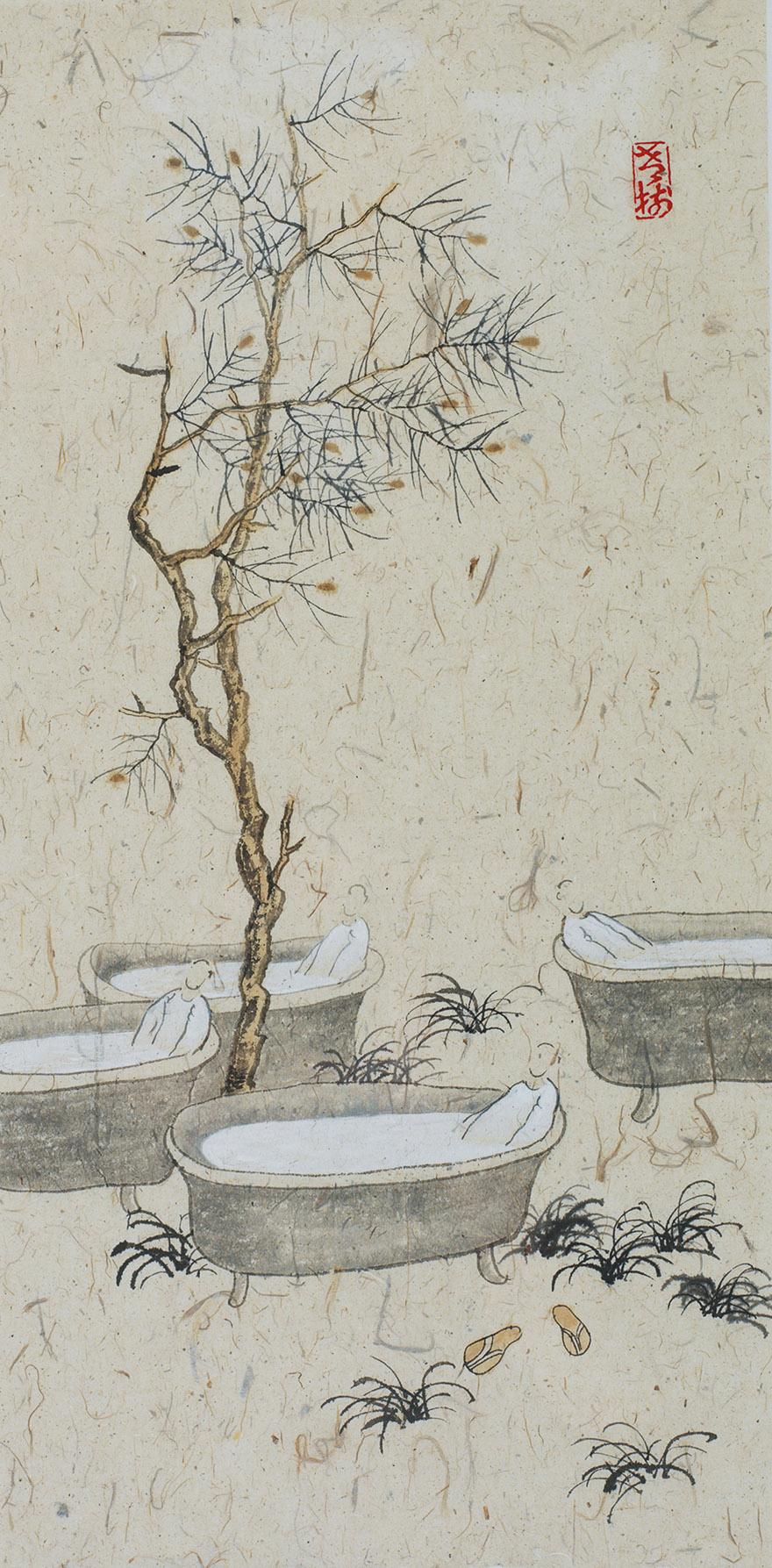 老树画画系列(一组二幅)