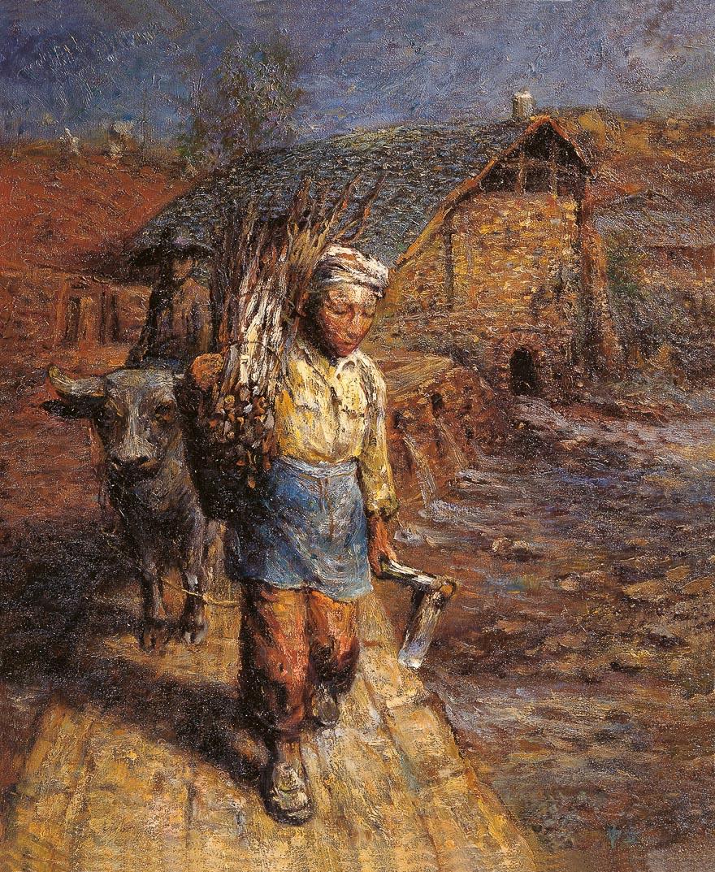 故乡组曲——走在水堤上的农夫
