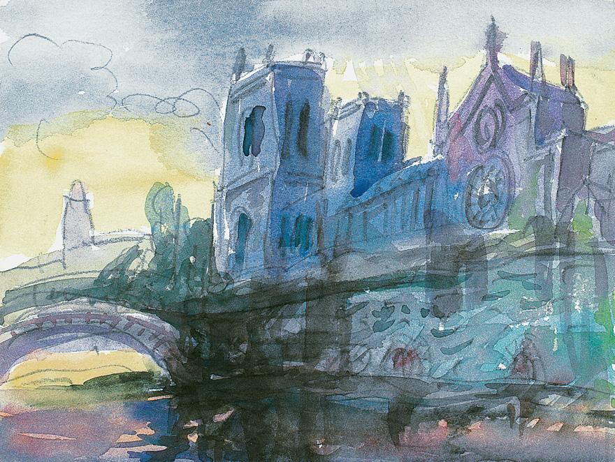 夕阳:巴黎圣母院
