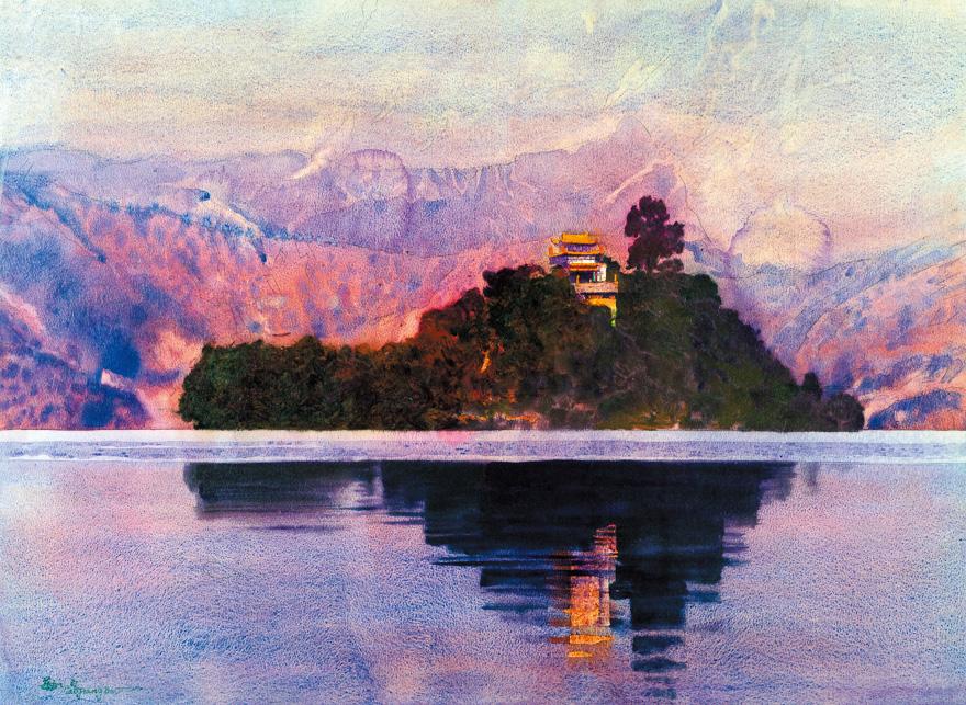 泸沽湖畔的傍晚