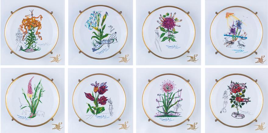 """""""植物花卉""""瓷盘(一组八件)(10-17/6244)(附亚克力框)"""