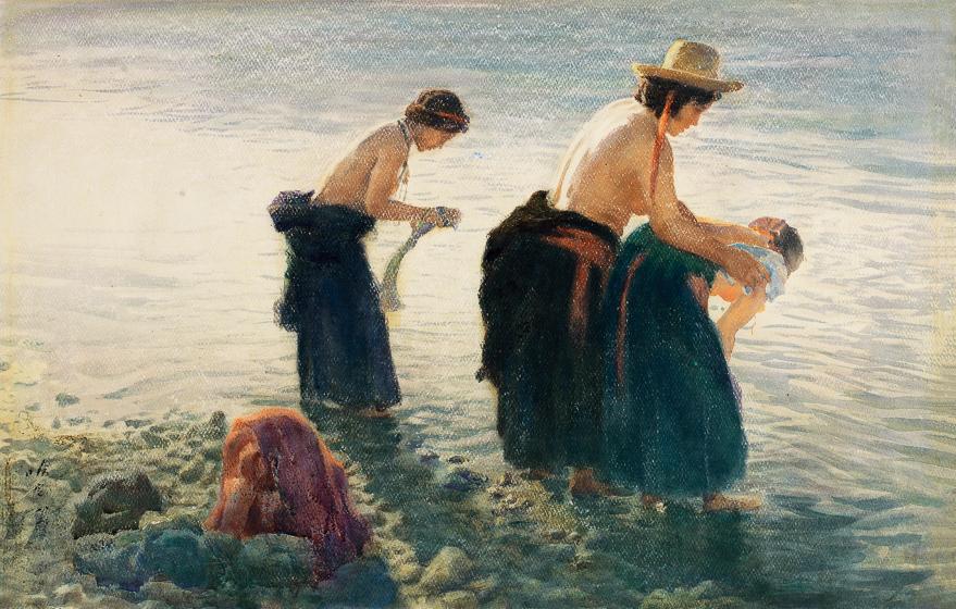 圣水沐浴中的妇女