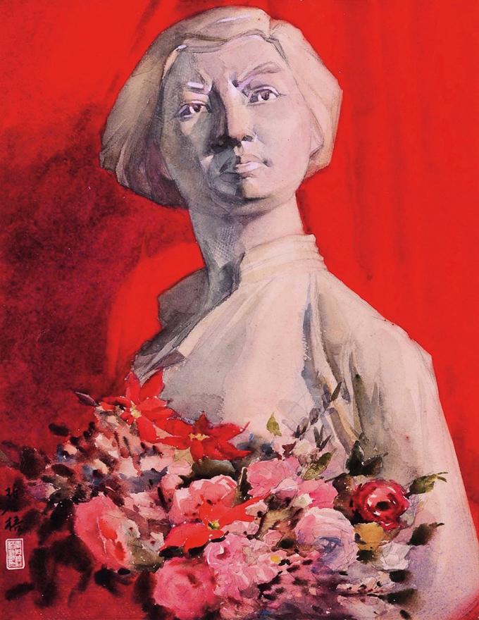 红色背景的石膏像(刘胡兰)