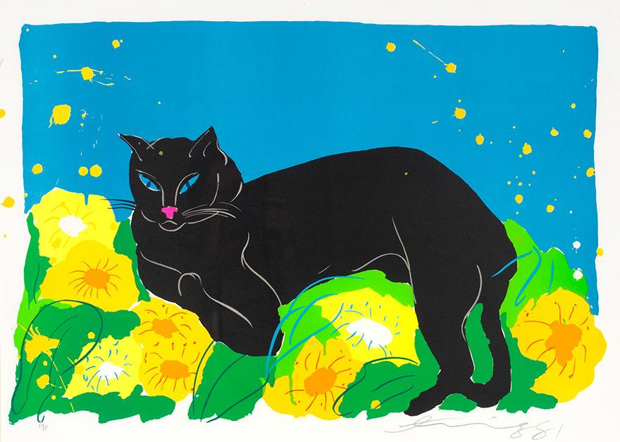 黑猫与鲜花