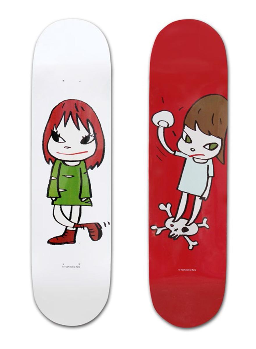 骷髅上的女孩/绿色礼服女孩滑板(一组两件)