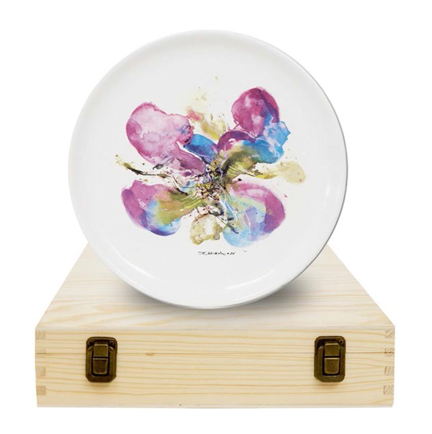 兰花水彩瓷盘(带外包装木盒)