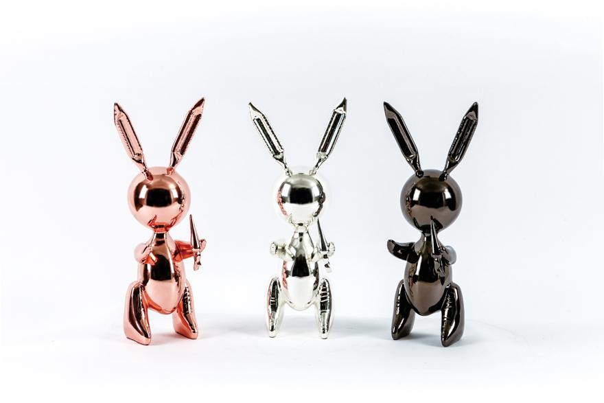 气球兔(一组 3 件,玫瑰金、银色、黑色)