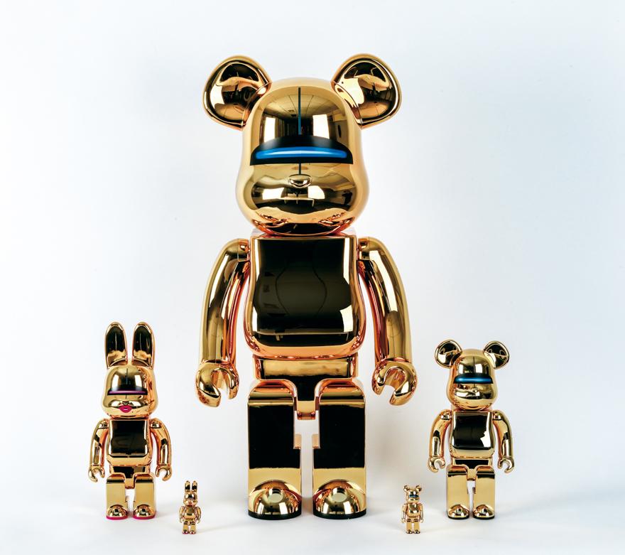 Sexy Robot Gold BE@RBRICK 1000%,Sexy Robot Gold BE@RBRICK 100% & 400%,Sexy Robot Gold R@BBRICK 100% & 400%(一组5件)