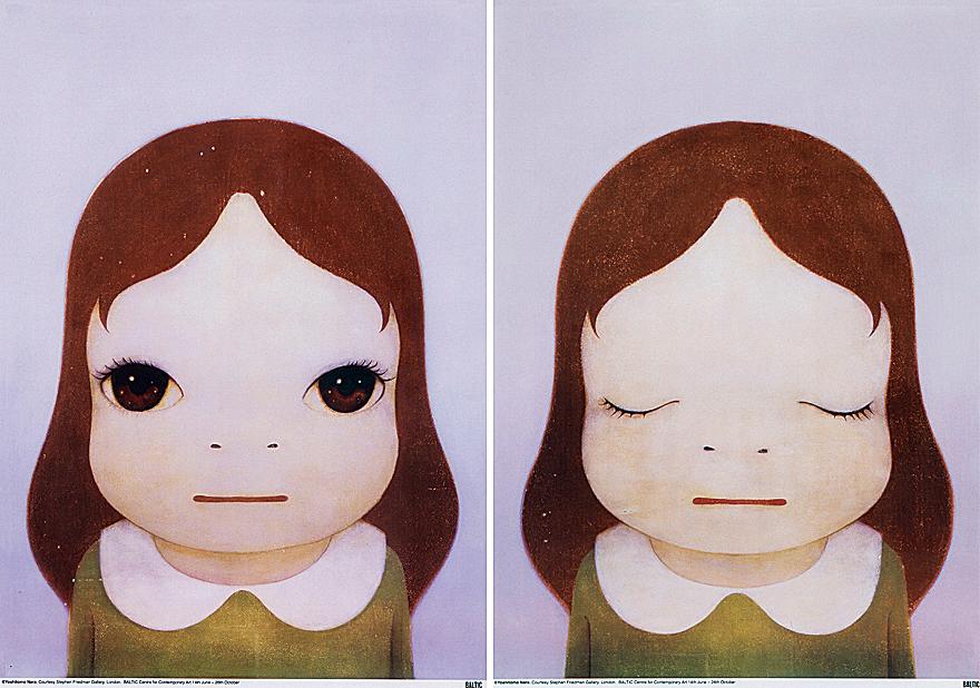 宇宙女孩(睁眼/闭眼)(一组两幅)