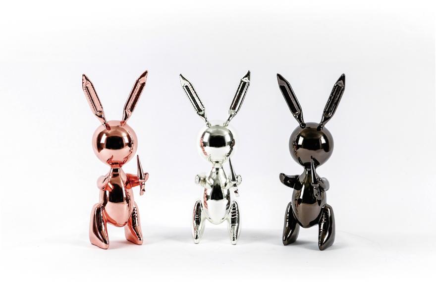 气球兔(一组三件,玫瑰金、银色、黑色)