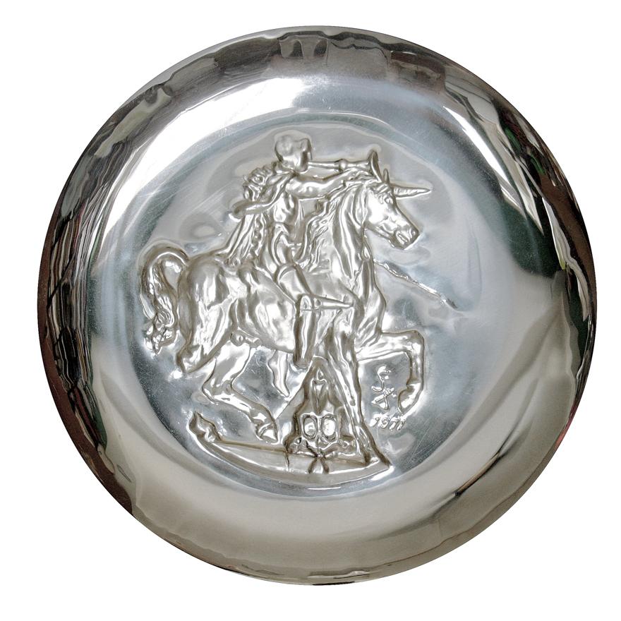 《复活节基督Easter Christ》&《独角兽 Unicorn Dyonisiaque》银盘(一组两件)