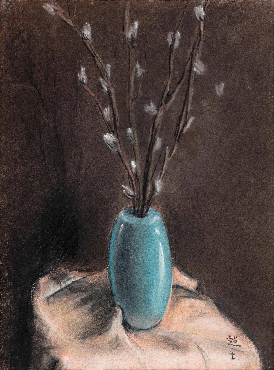 蓝花瓶静物