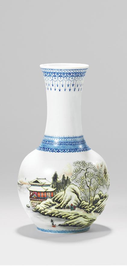 釉上粉彩「雪景图」瓷瓶