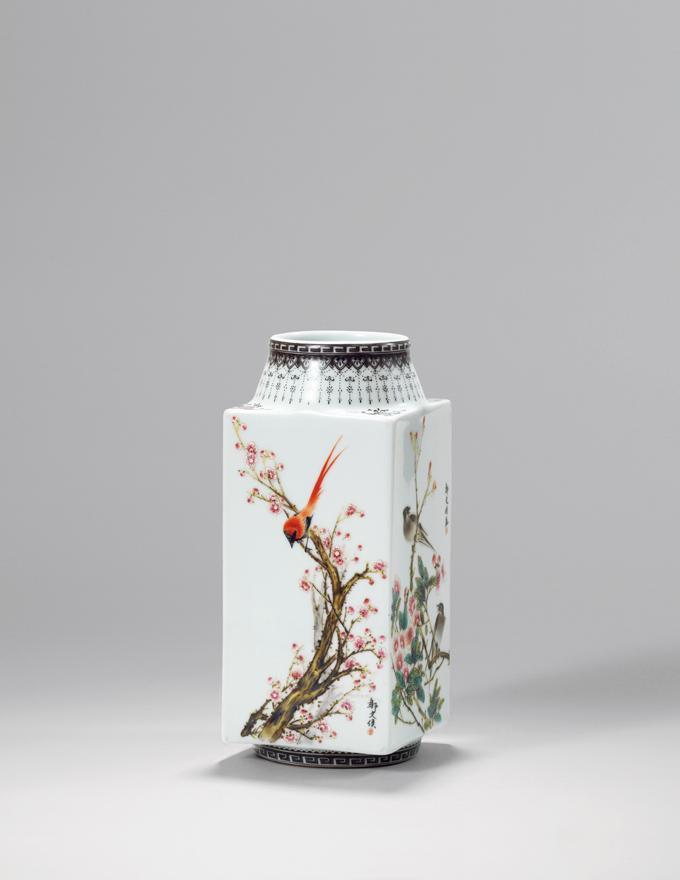 粉彩「四季花鸟」四方瓶