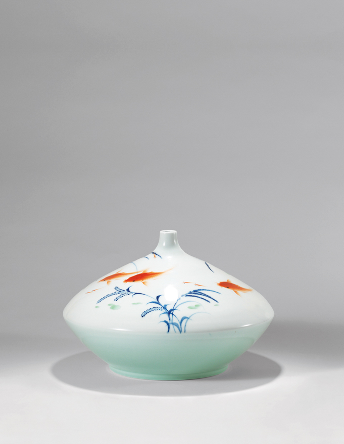 综合装饰「鱼乐图」瓷瓶