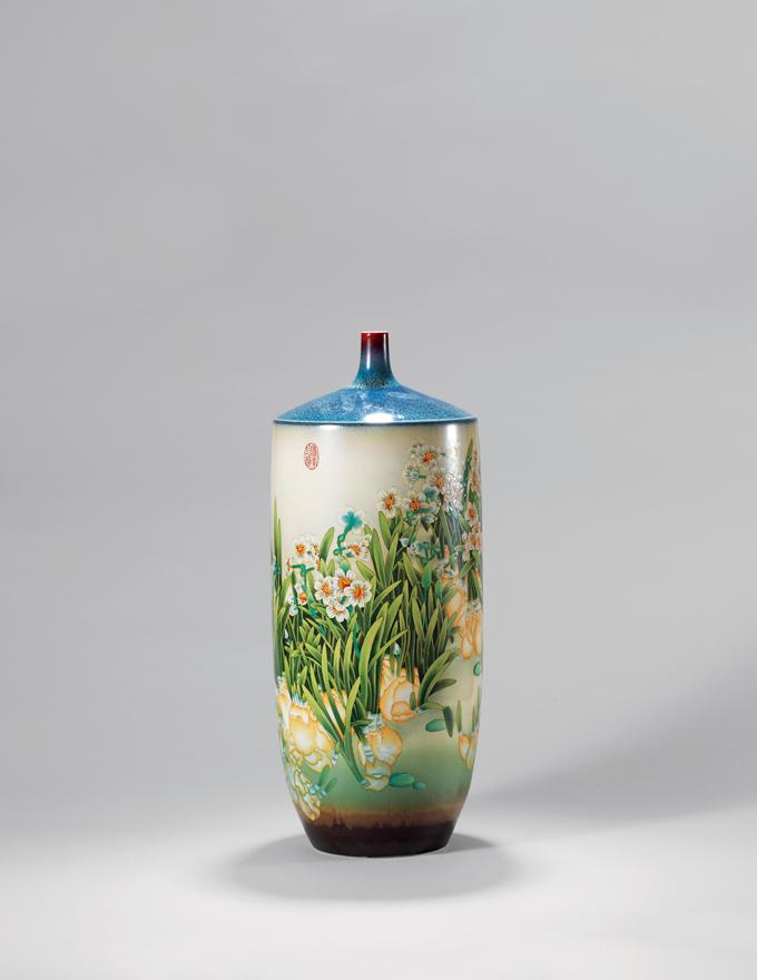 高温色釉粉彩「清香」瓷瓶