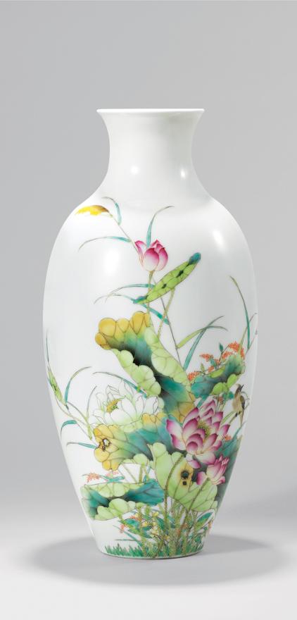 粉彩「和顺大平」瓷瓶