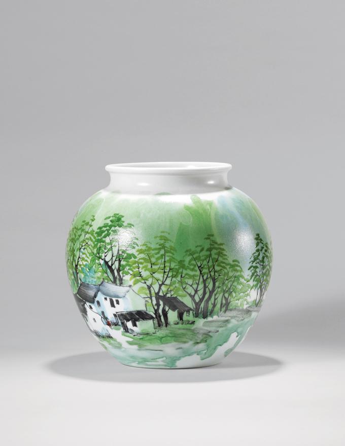 珍珠彩「春江渔乐」瓶