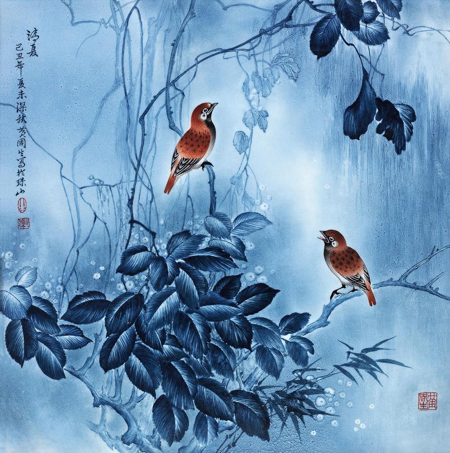 釉上青花「清夏」瓷板