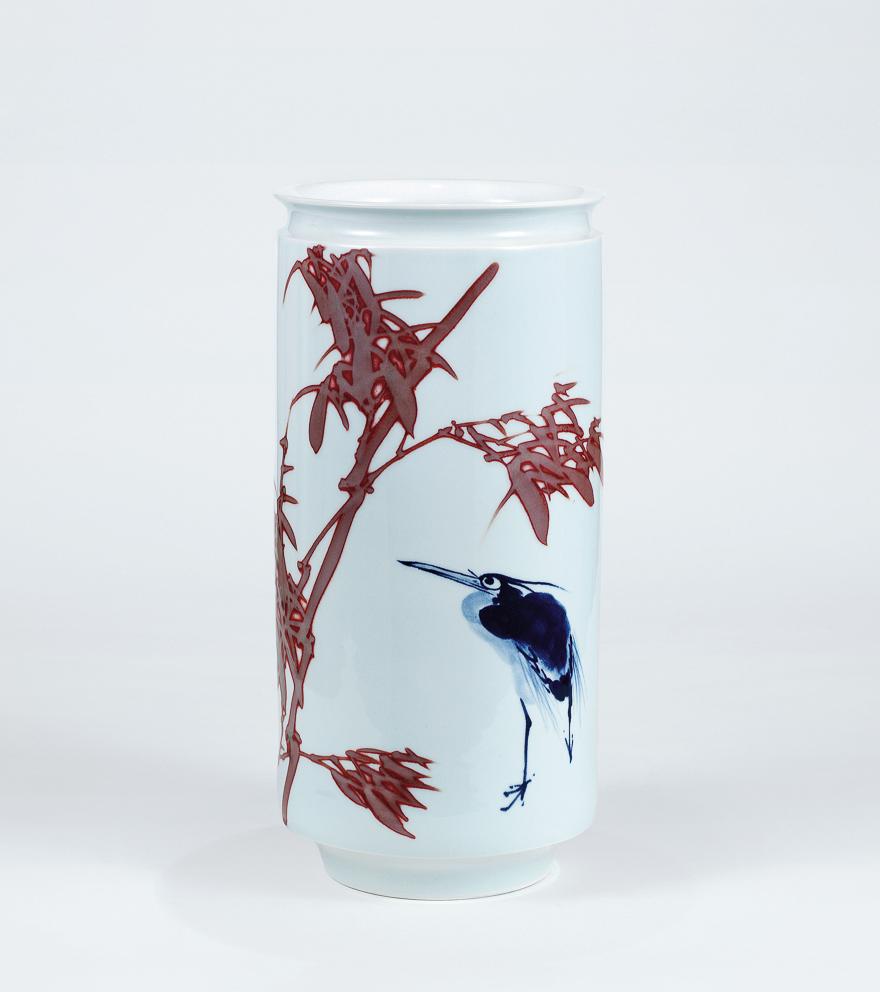 青花釉里红「一鹭青云」瓷瓶