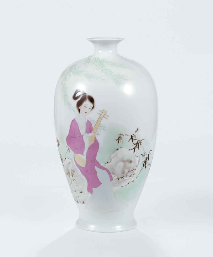 「仕女图」瓷瓶