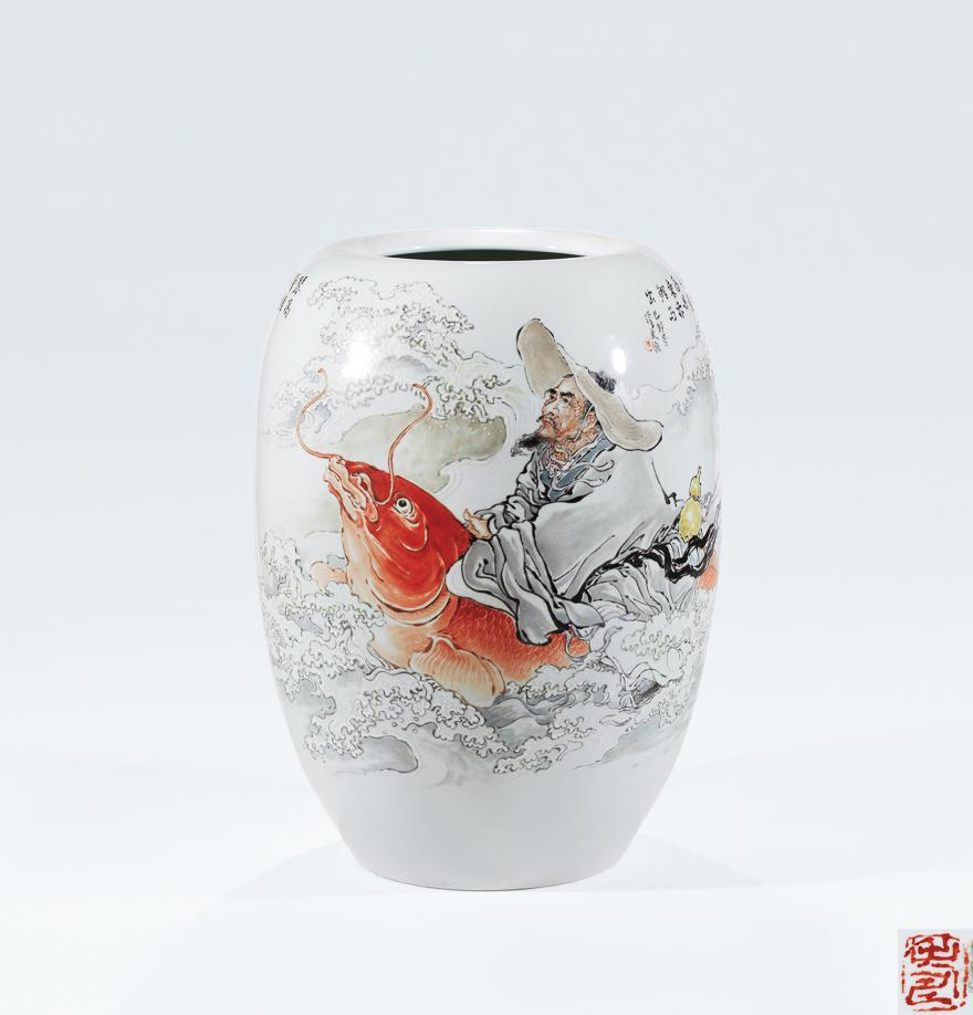 粉彩「琴高跨鲤」瓷瓶