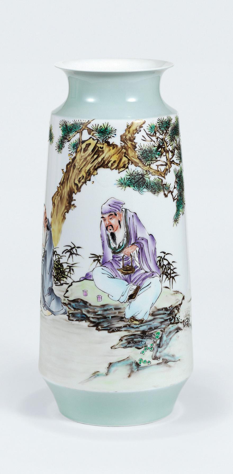 粉彩「品茶图」瓷瓶