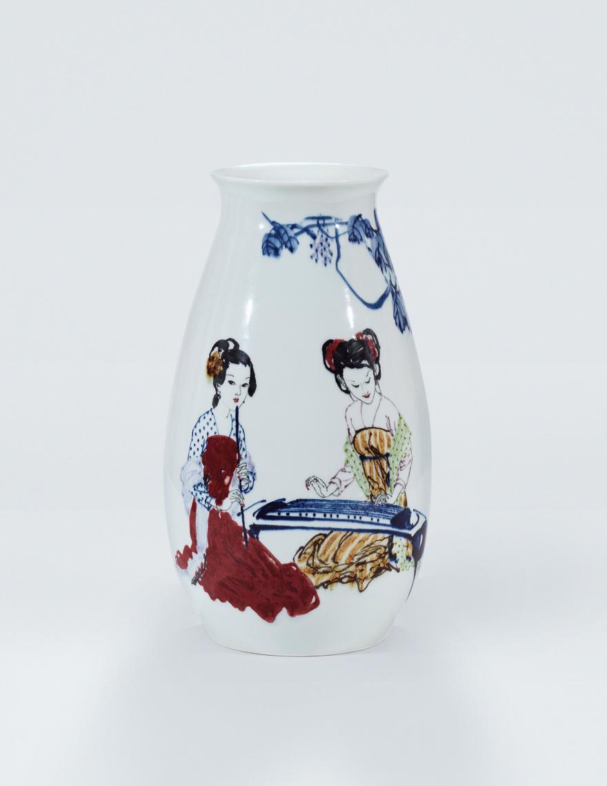 高温色釉「江南丝竹」瓷瓶