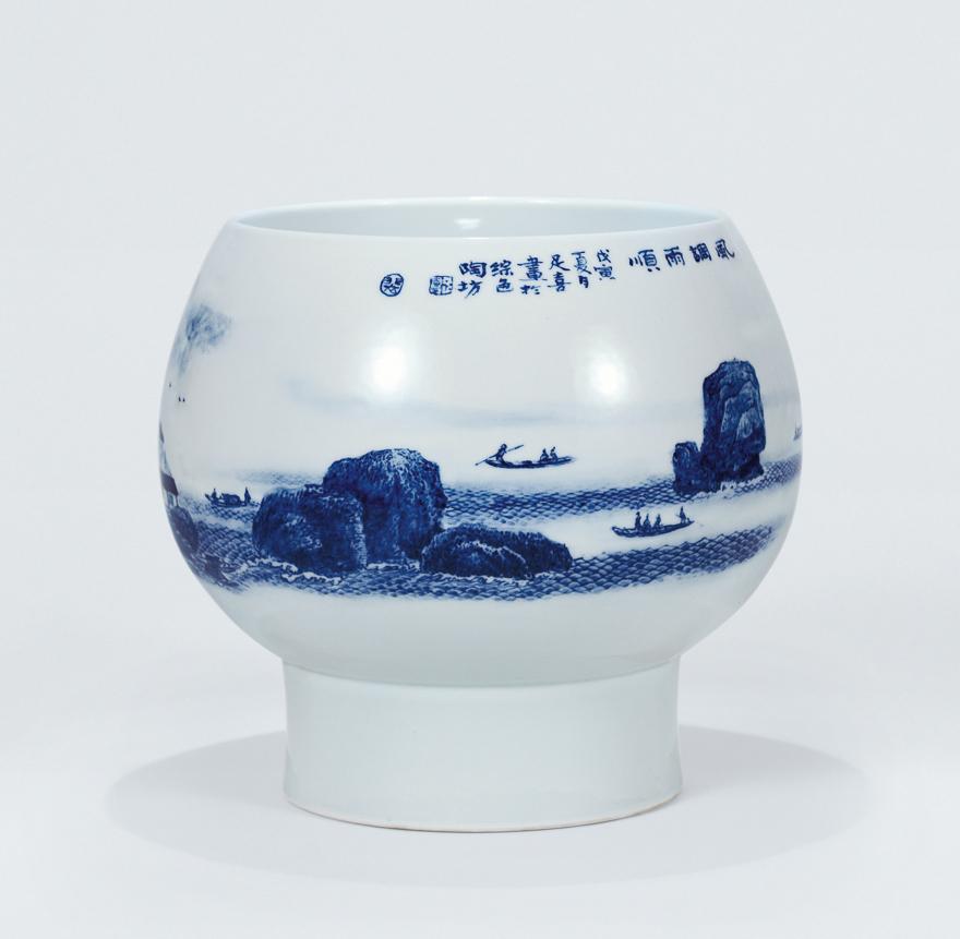 青花山水瓷瓶