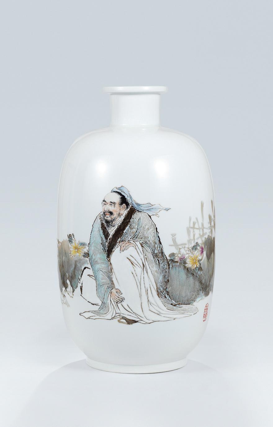 「陶潜爱菊图」瓷瓶