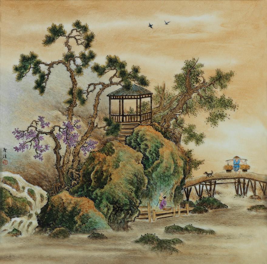 山水人物图瓷板