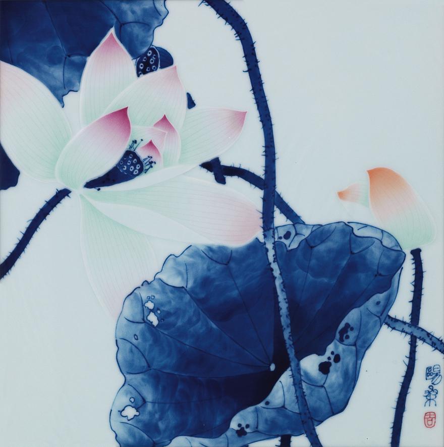 青花「荷韵」瓷板