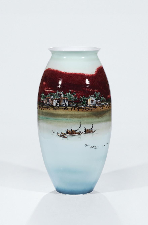 高温颜色釉「水乡春色」瓷瓶