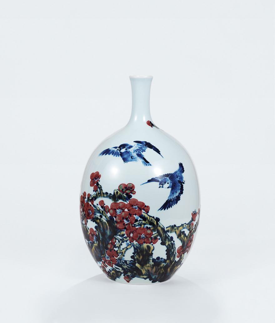 青花釉里红「喜上梅梢」瓷瓶