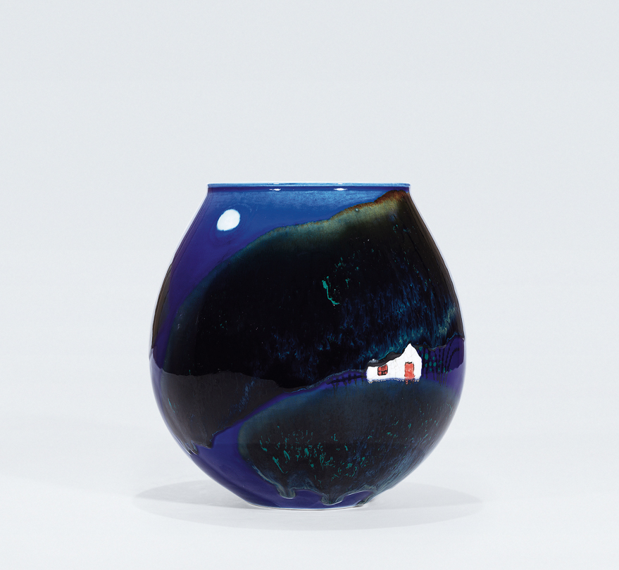 高温蓝釉瓷瓶