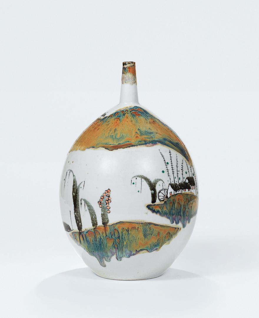 高温色釉「故乡」瓶