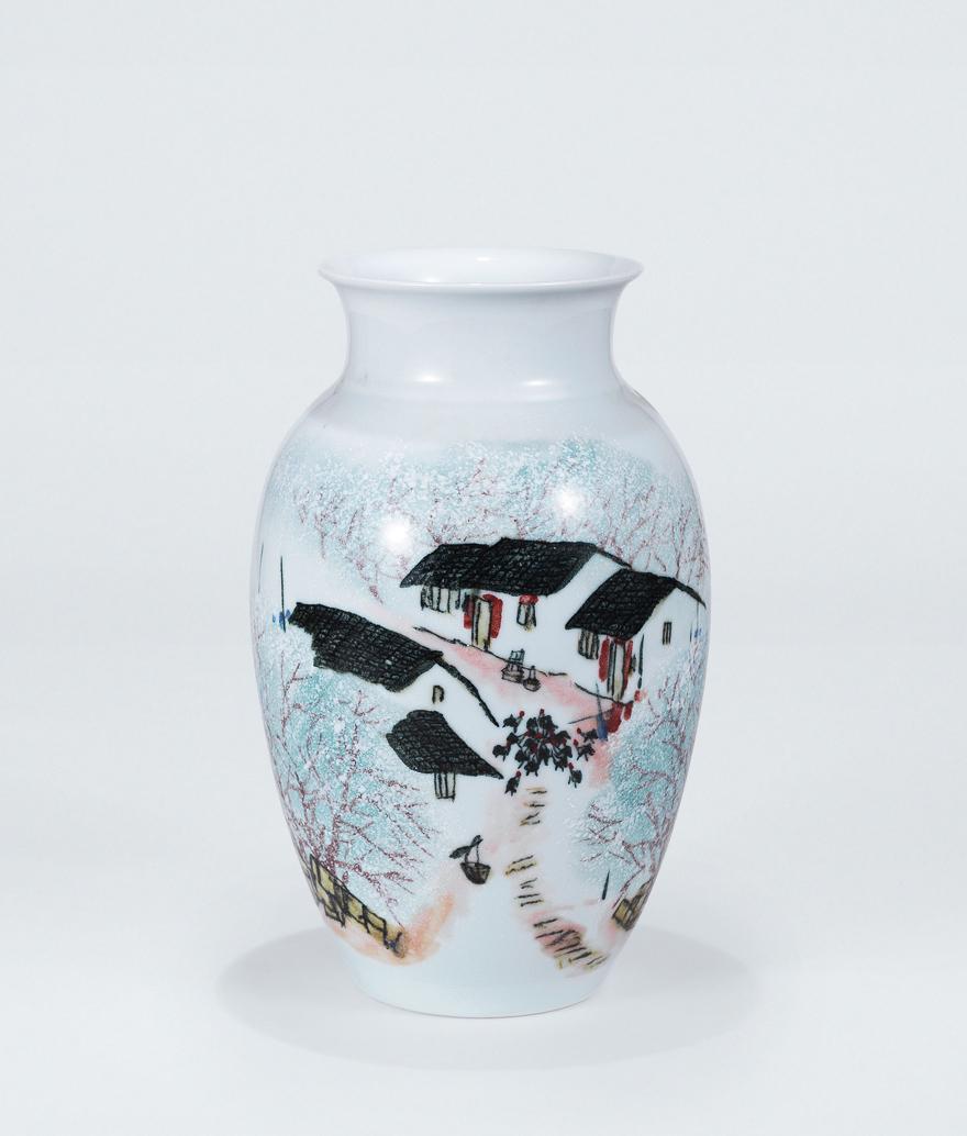 高温色釉「梨花」瓷瓶