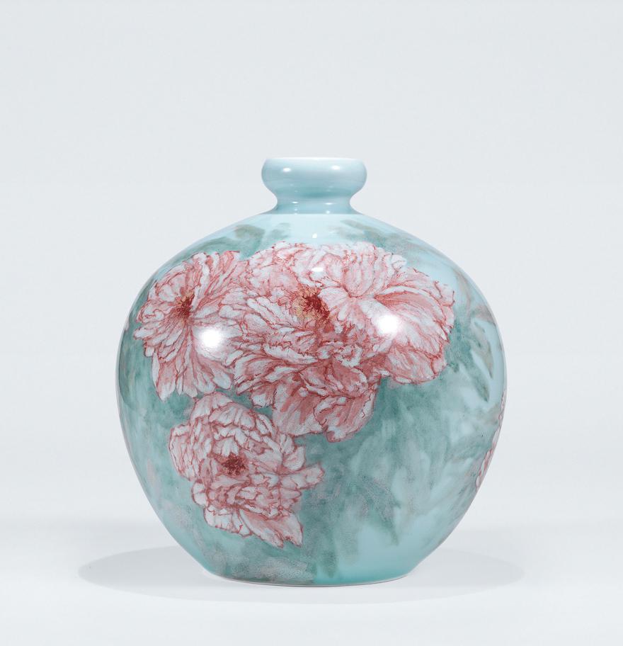 高温色釉「春园」瓷瓶