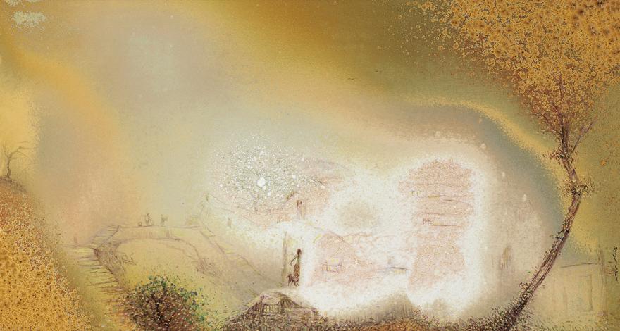 高温色釉「幽静的古村」瓷板
