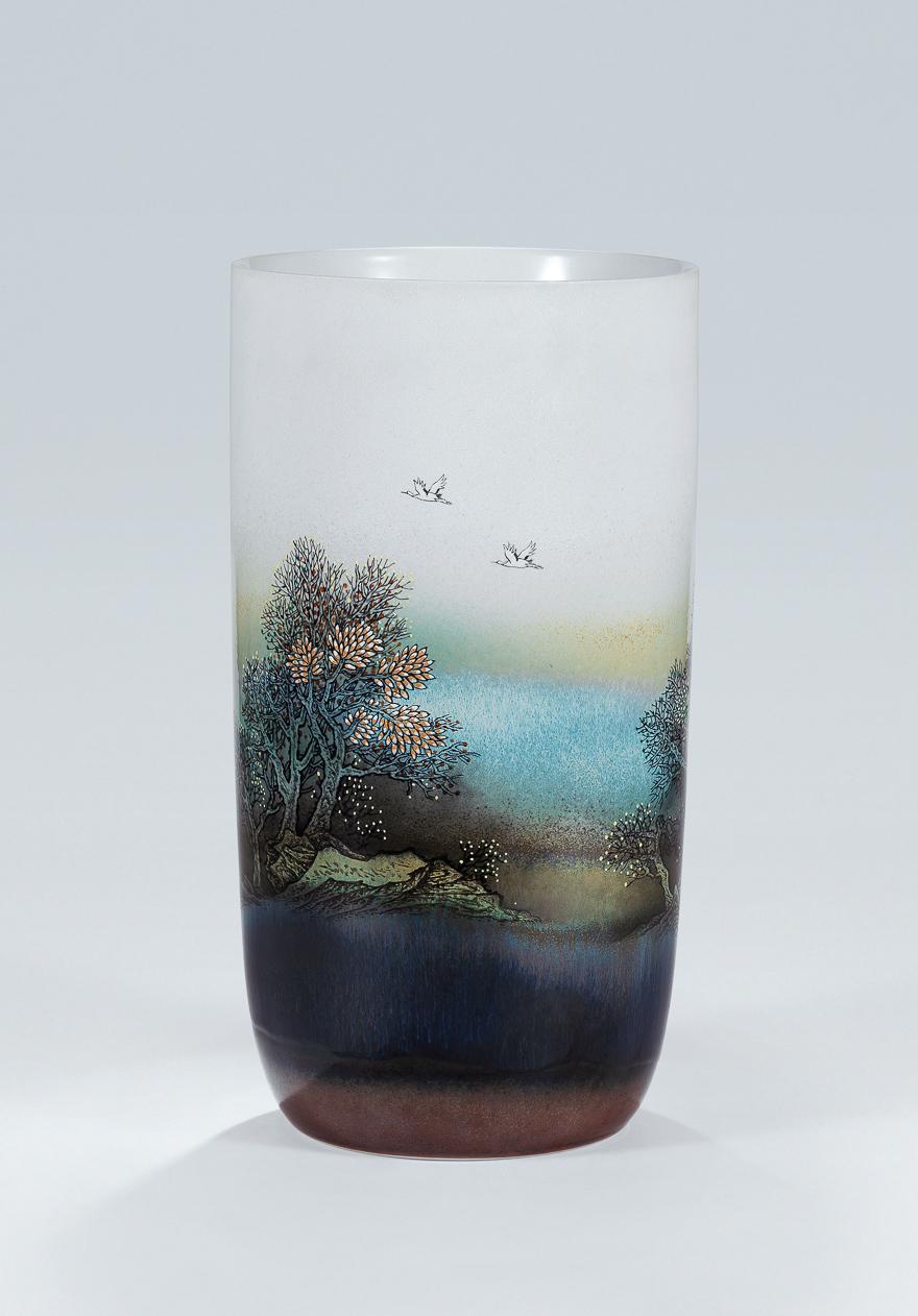 高温色釉综合装饰瓷瓶