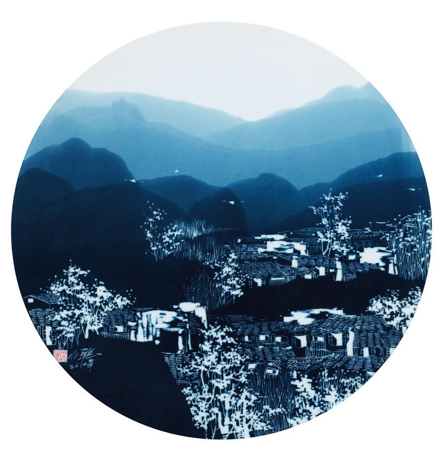 剔青「美丽家园」瓷板