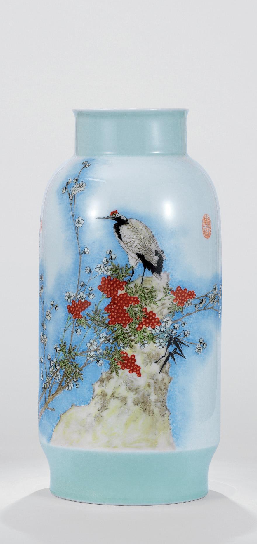 粉彩「暗香浮动」瓷瓶