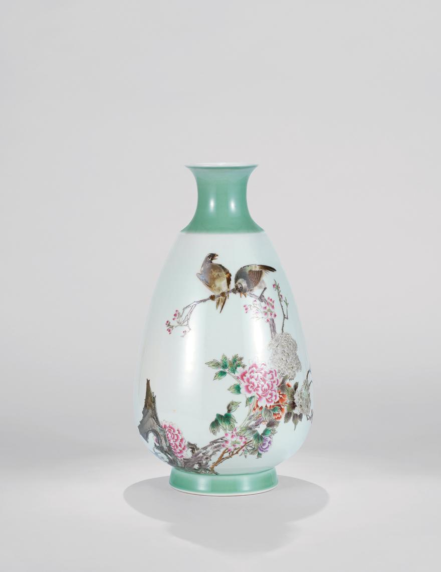 粉彩「牡丹白头」瓷瓶
