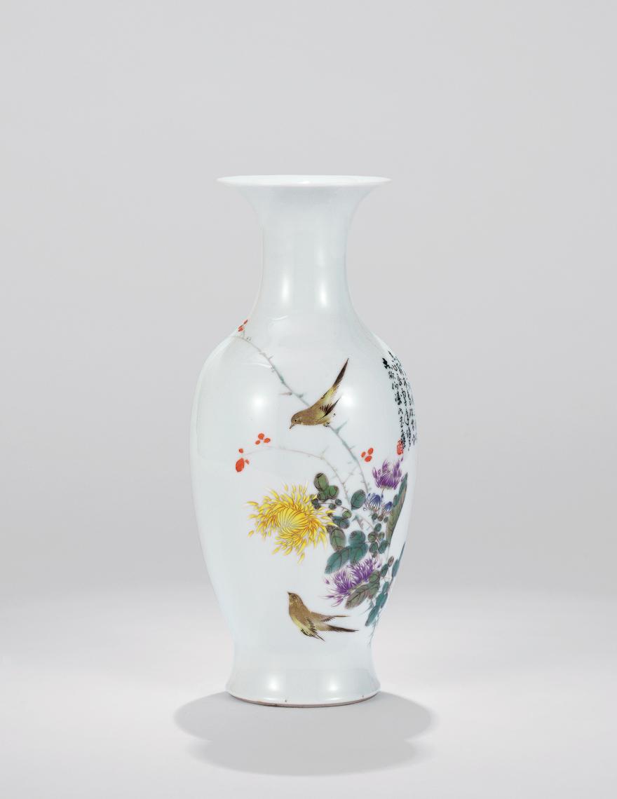 粉彩「园圃秋意」瓷瓶